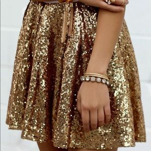 NWT Gold Sequin Mini Skirt - Size 4